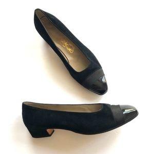 Vintage Salvatore Ferragamo Black Suede Shoes